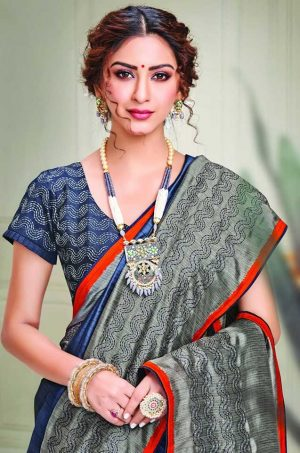 Party Wear printed Silk Fabric, Designer saree- Blue & grey colour