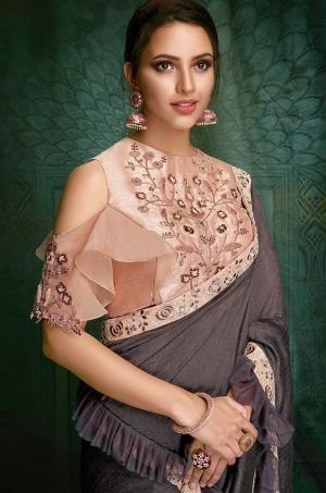Traditional Saree With Contrast Blouse & Embellished Border-pink & mouse grey colour
