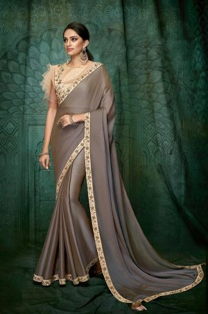 Traditional Saree With Contrast Blouse & Embellished Border-nude pink & mouse grey