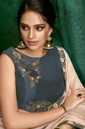 Plain Sarees With Designer belted Blouses & Border- n.blue & soft pink colour