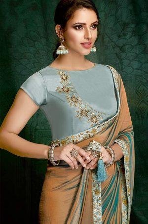 Plain Sarees With Designer belted Blouses & Border- sky blue & chiku colour