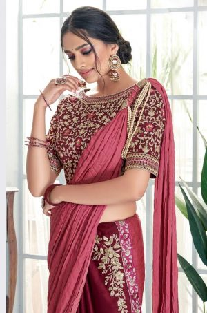 Plain Sarees With Designer Blouses & Border- Ready Plated- maroon colour