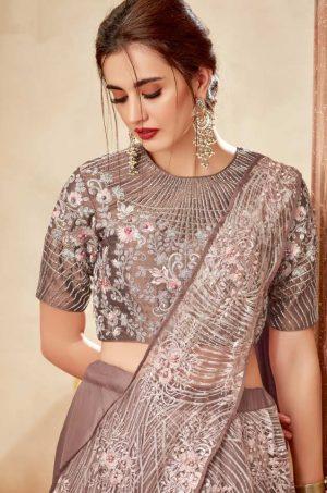Party Wear Lehengas, Lycra & Raw Silk Fabrics- brown colour