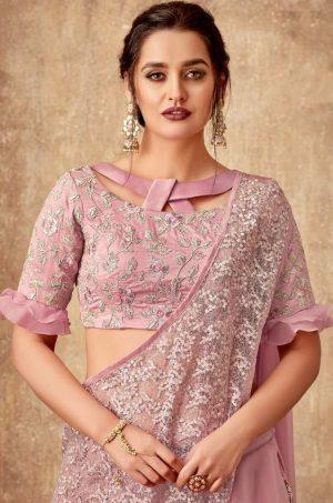 Bridal Wear Lehengas,Silk,Tissue & Net Febrics- Redy To Wear- pink colour