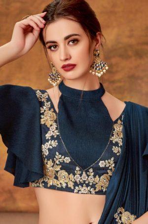 Bridal Wear Lehengas,Silk,Tissue & Net Febrics- Redy To Wear- n.blue & Grey colour