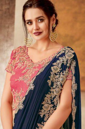 Traditional Wear Lehengas Weaved Jacquard Silk,Lycra Raw Silk & Net Febrics- N.Blue-Green & Pink colour