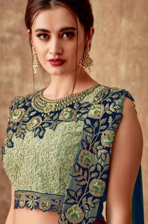 Traditional Wear Lehengas Weaved Jacquard Silk,Lycra Raw Silk & Net Febrics- Green & blue colour