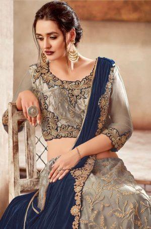 Traditional Wear Lehengas Weaved Jacquard Silk,Lycra Raw Silk & Net Febrics- blue & grey colour