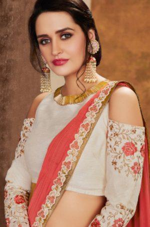 Traditional Wear Lehengas Weaved Jacquard Silk,Lycra Raw Silk & Net Febrics- peach & off white colour