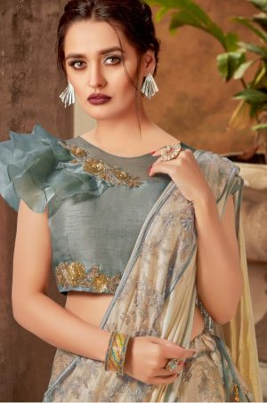 Party Wear Lehengas, Lycra & Raw Silk Fabrics- grey colour