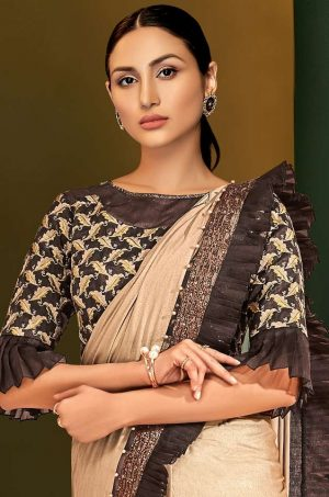Party Wear Sarees With Designer Blouses & Border, Ready Plated- brown & beige colour
