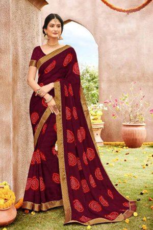 Laxmipati Maroon & Red saree
