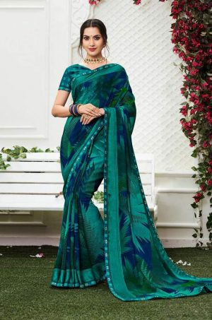 Laxmipati Georgette rama green saree