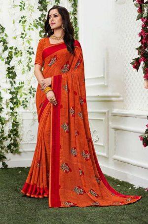 Laxmipati Georgette orange & red saree