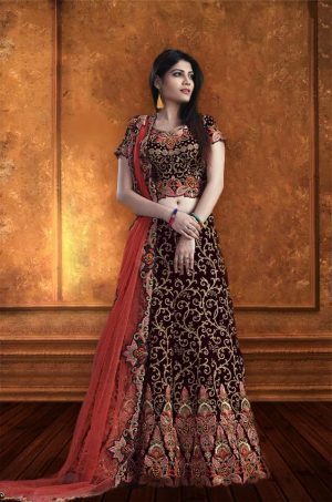 Bridal Wear Lehengas, Net & Velevet Fabrics- Maroon & Red colour