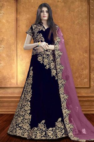 Bridal Wear Lehengas, Net & Velvet Fabrics-N.Blue & Blue colour