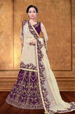 Bridal Wear Lehengas, Net & Velvet Fabrics- Wine & Cream colour