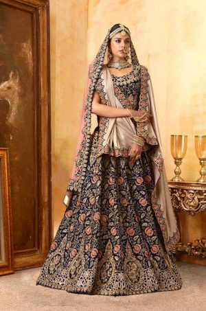 Bridal Wear Lehengas, Net & Velvet Fabrics-Peach-Chiku & N.Blue colour