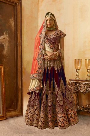 Bridal Wear Lehengas, Net & Velvet Fabrics- Red & Chiku colour
