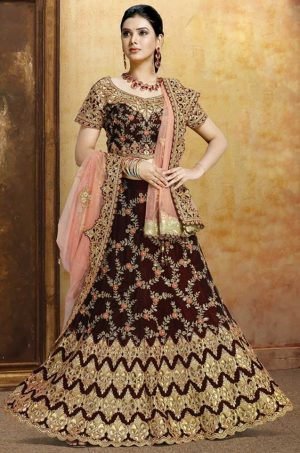 Bridal Wear Lehengas, Net & Velvet Fabrics- Peach & N.Blue colour