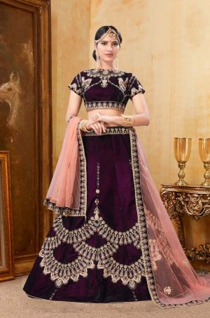 Bridal Wear Lehengas, Net & Velvet Fabrics- Wine & Peach colour