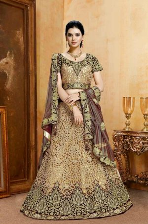 Bridal Wear Lehengas, Net & Velvet Fabrics- Maroon & Peach colour