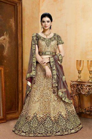Bridal Wear Lehengas, Net & Velvet Fabrics- Maroon & Peach Colour – Best Marriage Lehenga for Dulhan Online Offer