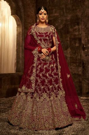 Bridal Wear Lehengas, Net & Velvet Fabrics- maroon colour
