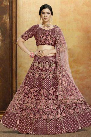Bridal Wear Lehenga, Net & Velvet Fabrics- Maroon & Peach Colour – Stay Home Sale Offer for Special Wedding Lehenga
