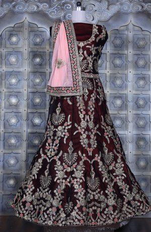 Bridal Wear Lehengas, Net & Velvet Fabrics- MAROON & peach colour