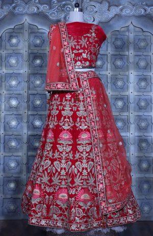 Bridal Wear Lehengas, Net & Velvet Fabrics- red colour