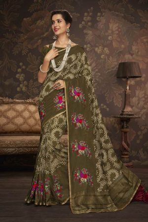 LAXMIPATI MAHENDI GREEN COTTON-SILK SAREE