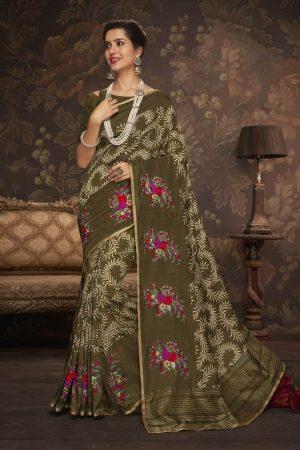 Laxmipati Mahendi Green Cotton Silk Saree