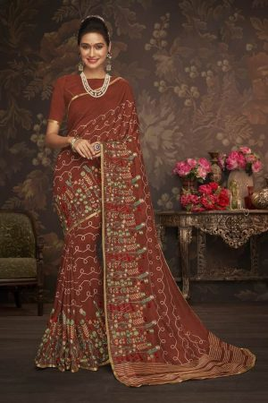 LAXMIPATI MAROON COTTON-SILK SAREE