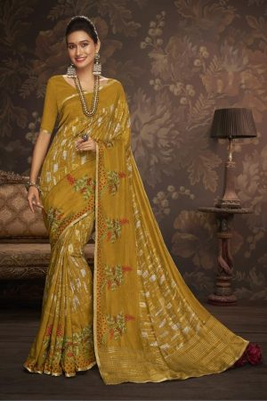 LAXMIPATI MUSTARD YELLOW COTTON-SILK SAREE