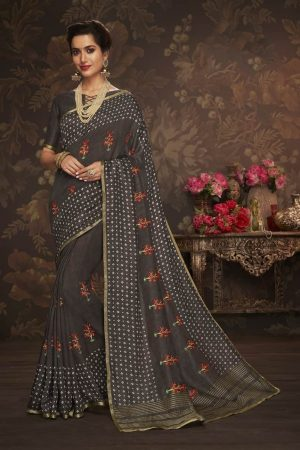 LAXMIPATI STEEL GREY COTTON-SILK SAREE