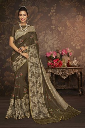 LAXMIPATI DUSTY COLOUR COTTON-SILK SAREE