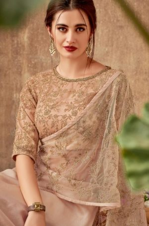 Bridal Wear Lehengas,Silk,Tissue & Net Febrics- Redy To Wear- peach & beige colour