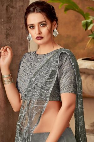 Bridal Wear Lehengas,Silk,Tissue & Net Febrics- Redy To Wear- Grey colour