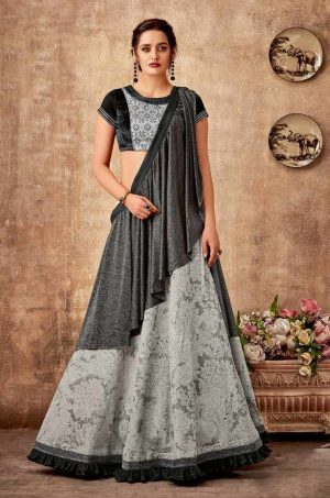 Bridal Wear Lehengas,Silk,Tissue & Net Febrics- Redy To Wear- black & Grey colour