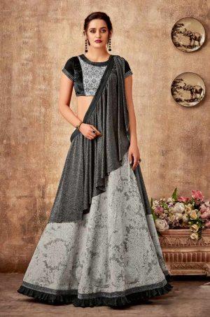 Bridal Wear Lehengas,Silk,Tissue & Net Febrics- Redy To Wear- black & Grey colour