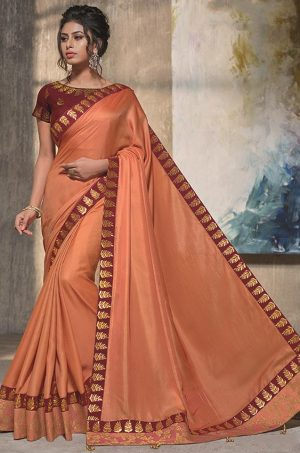 Traditional Silk Saree With Contrast Blouse & Embellished Border- orange & maroon colour