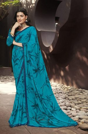 Laxmipati Blue Georgette Saree