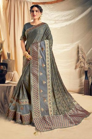 Traditional Saree With Desingner Contrast Blouse & Embellished Border- wine colour
