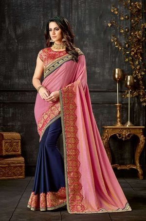 Party Wear Saree With Blouse & Embellished Borde- pink & blue colour
