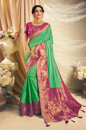 Traditional Saree With Desingner Contrast Blouse & Embellished Border- pink & green colour