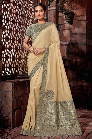 Traditional Silk Saree With Contrast Blouse & Embellished Border- grey & beige colour