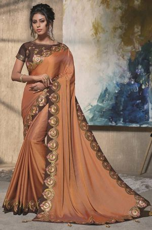 Traditional Silk Saree With Contrast Blouse & Embellished Border- orange & brown colour