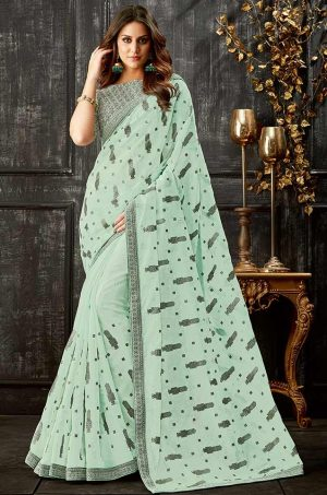 Party Wear Saree With Blouse & Embellished Borde- grey & c.green colour