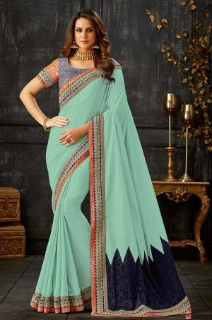 Party Wear Saree With Blouse & Embellished Borde- firoji & blue colour